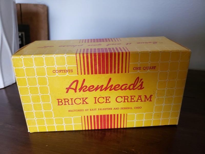 Vintage Akenhead's Bric Ice Cream container