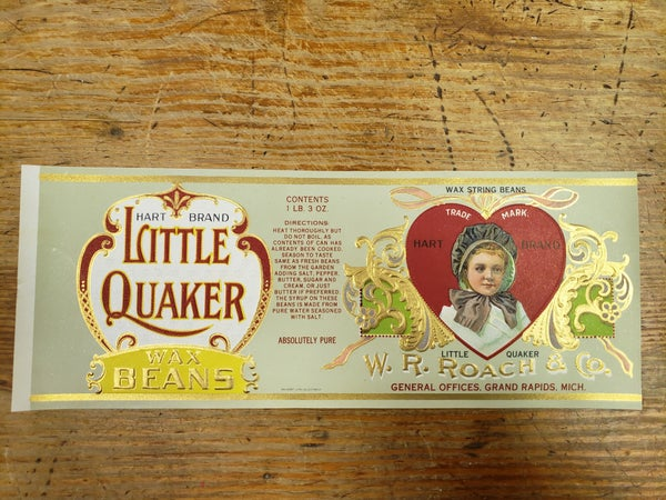 Original 1920's Little Quaker Wax Beans-UNUSED