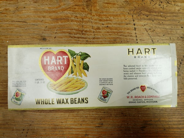 Original Hart Brand Wax Beans Label-UNUSED