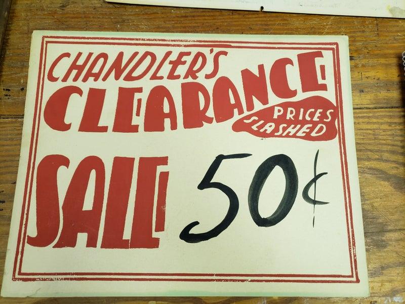 vintage cardboard sale sign
