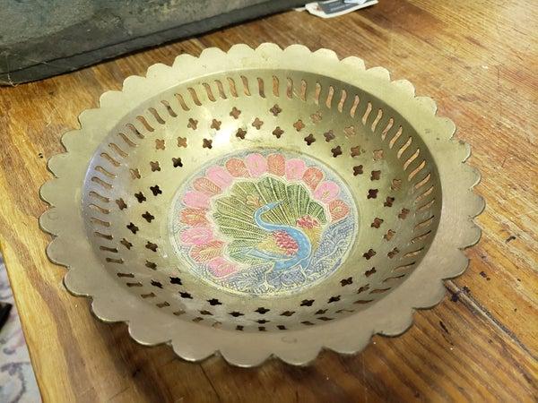 Peacock brass bowl