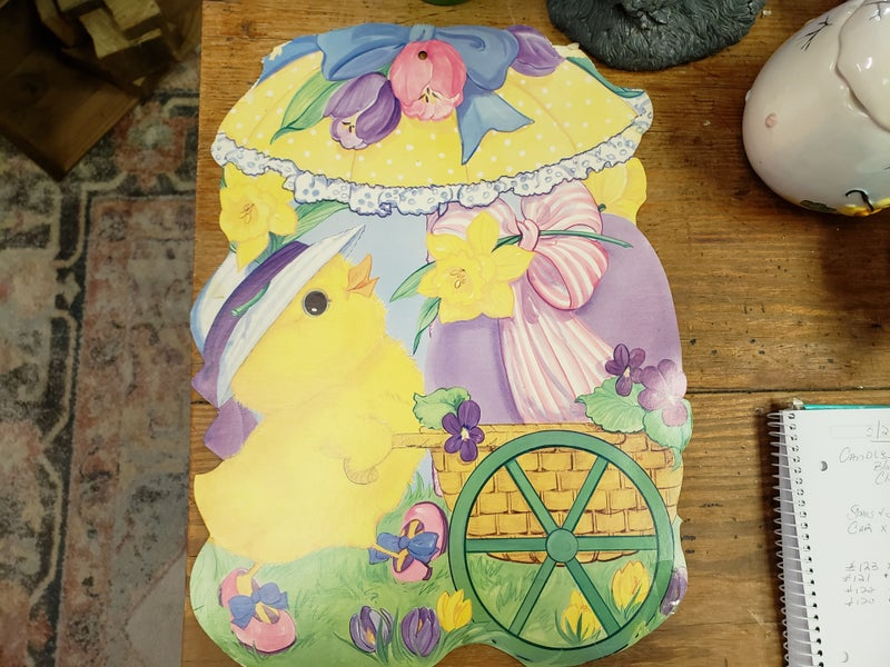 Vintage Easter Die Cut Chick with wagon