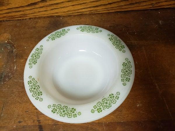 Anchor Hocking Green flower rim bowl