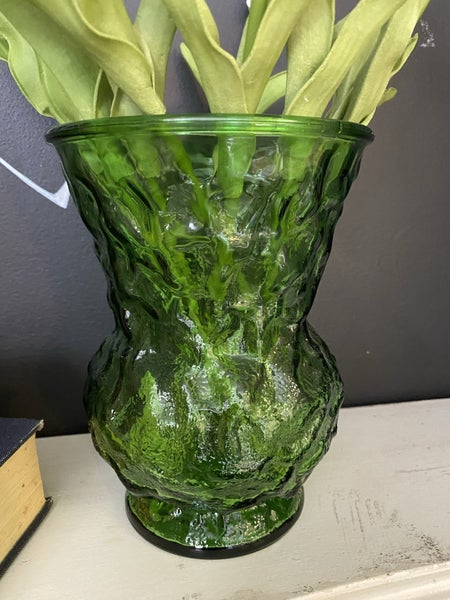 Green glass vase