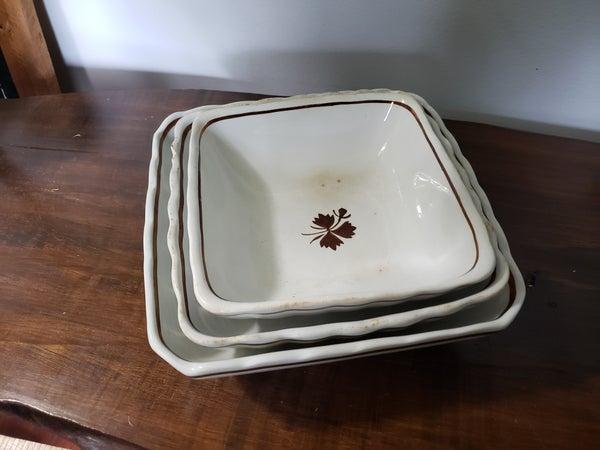 Set of 3 Ironstone Bowls