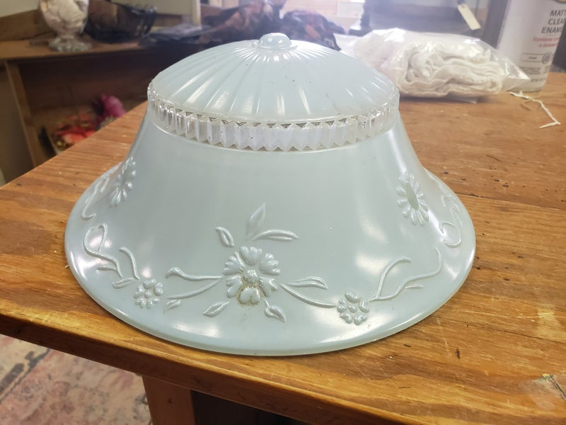 pale blue vintage Light Cover-glass-no shipping