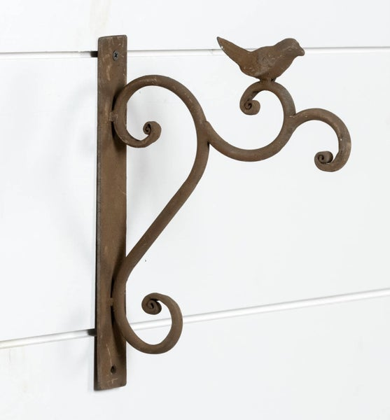 Vintage inspired wrought iron hook with bird