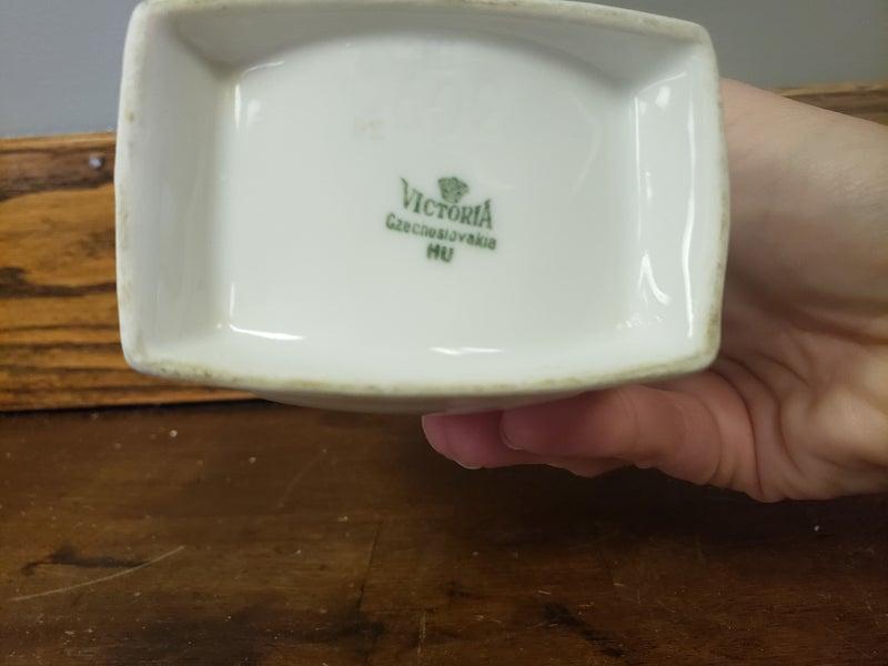 Vintage ceramic storage-stamped Victoria-no lid