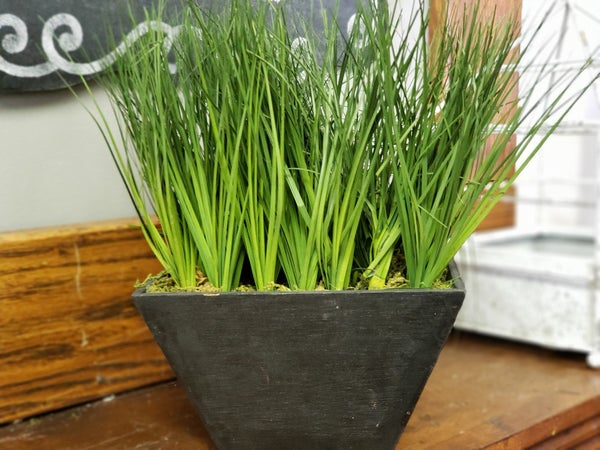 Faux grass in a box