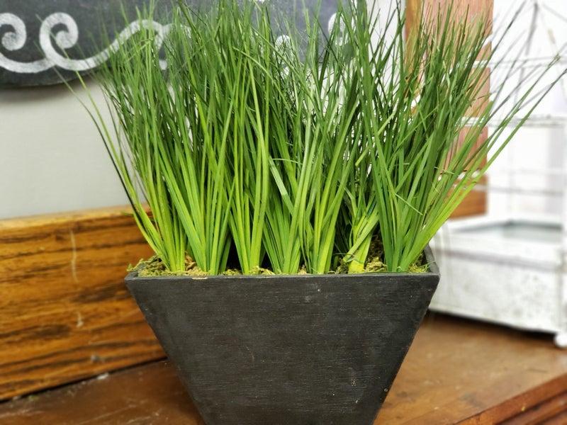 Faux grass in a box