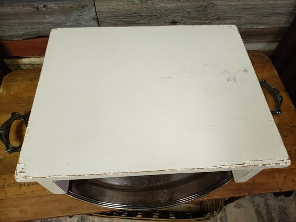 white distressed wood riser