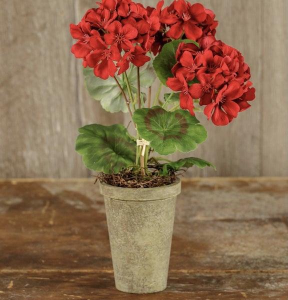 """14"""" red potted geranium"""