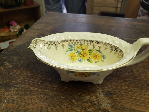 Yellow flower gravy boat