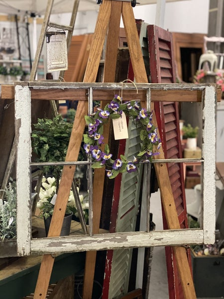 Salvage window frame and pansy wreath no shipping