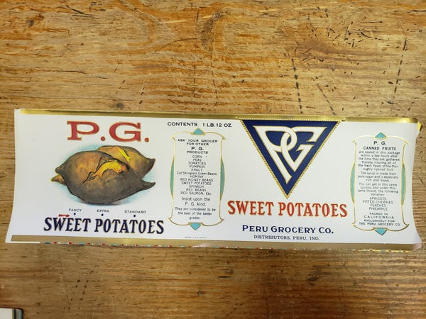Original P,G, Sweet Potatoes Label-UNUSED