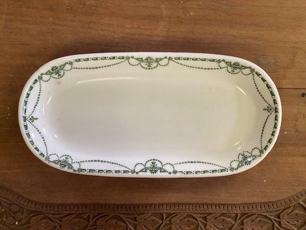 Restaurant ware oval dish green trim