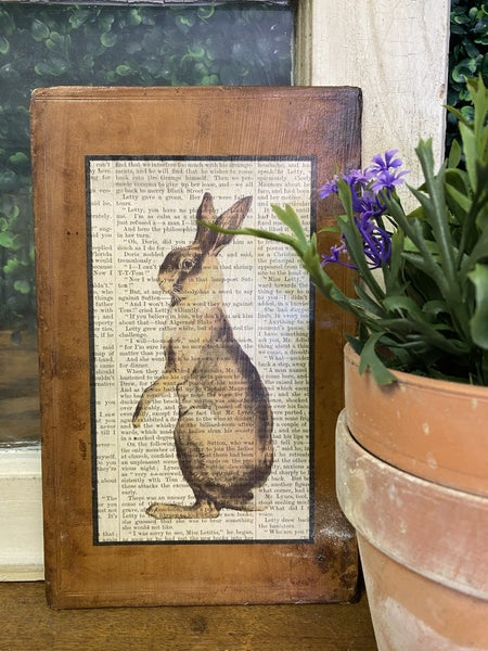 VINTAGE LEATHER BOOK COVER WITH RABBIT