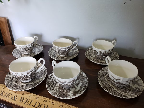 Set of 6 Ironstone cups and saucers