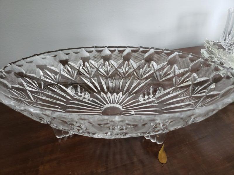 Large footed crystal bowl.dish