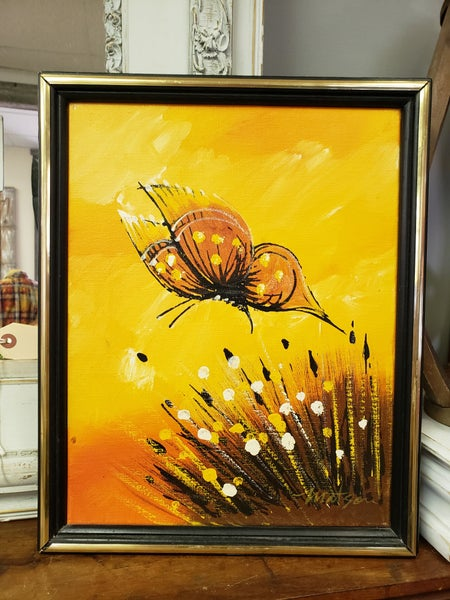 MCM Signed Matson Butterfly oil painting