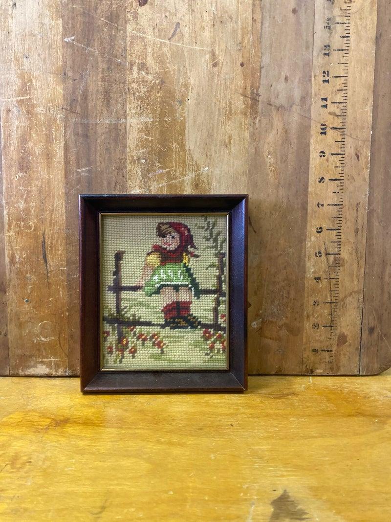 Small framed needlepoint