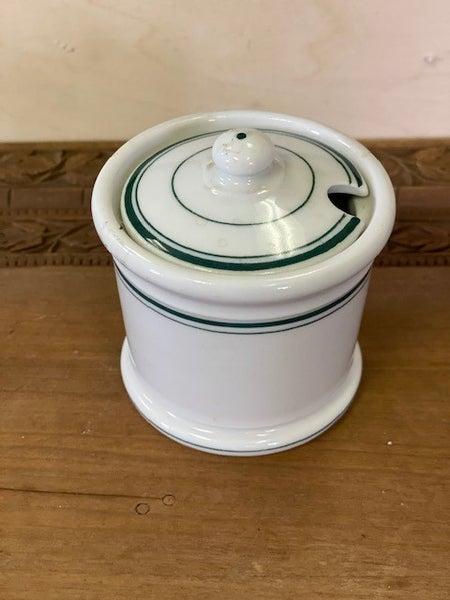 Condiment jar with green trim