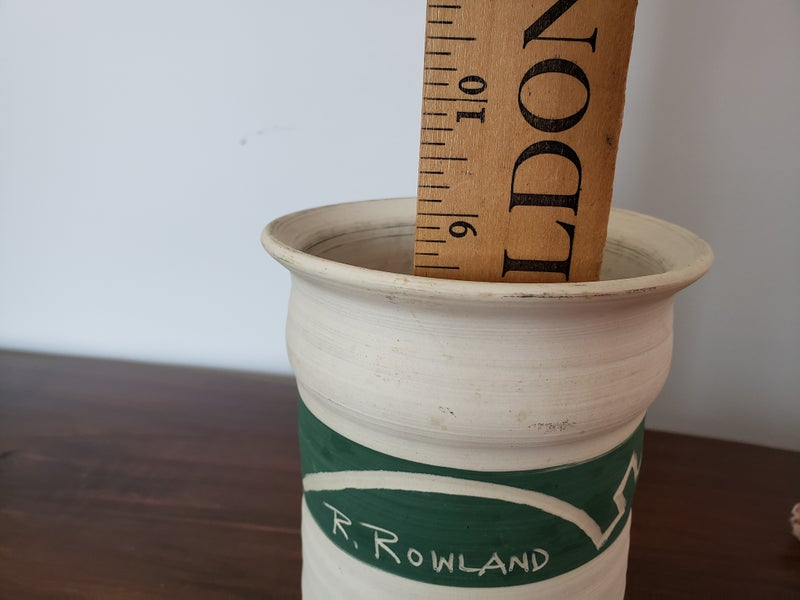 """R. Rowland 9"""" Hand crafted pottery vase"""