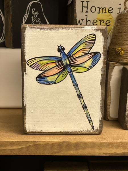 Hand painted dragonfly block