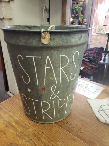 Hand painted by Hannah-stars and stripes bucket-no shipping
