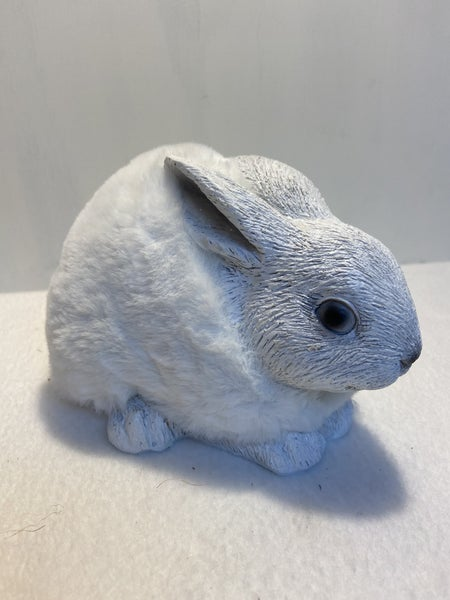 White Resin Bunny with Faux Fur Body