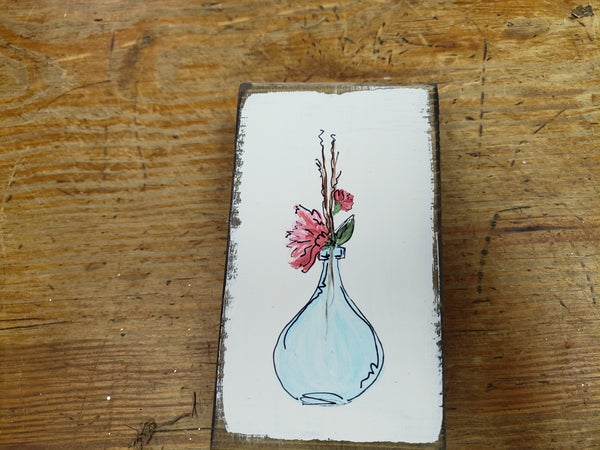 Hand painted by Janet — flowers in a bottle