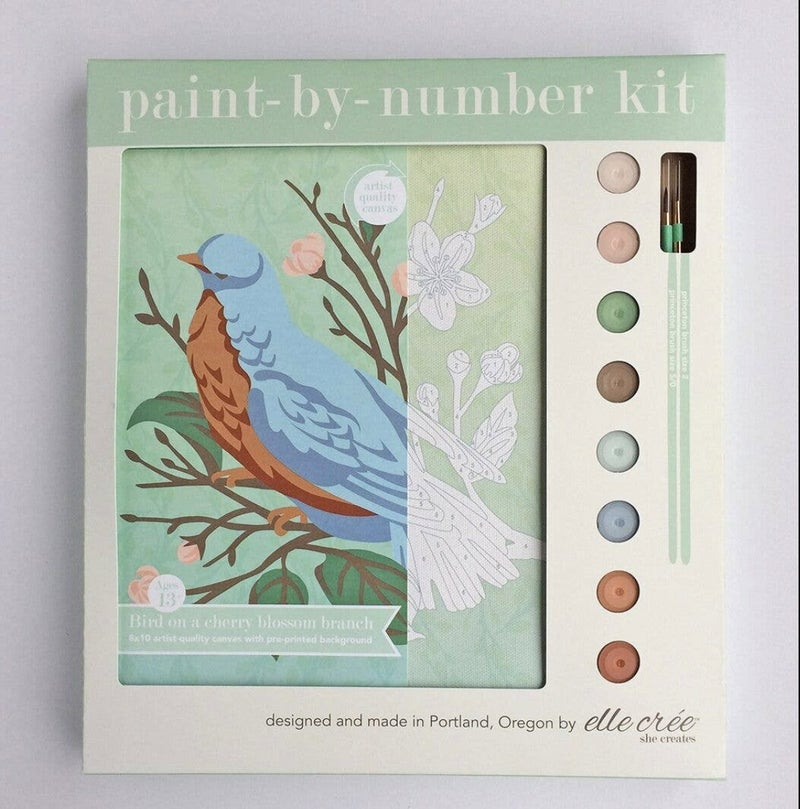 Bird on a Cherry Blossom Branch Paint By Number Kit