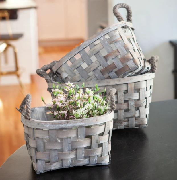 Gray Open Wave Basket