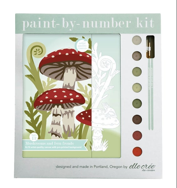 Mushrooms and Fern Fronds Paint By Number Kit
