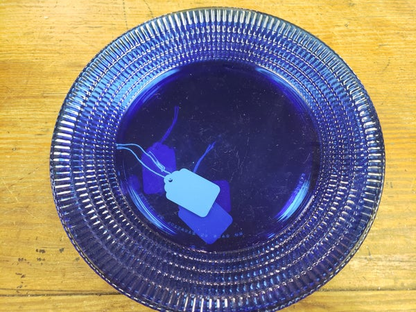 Blue glass dinner plate