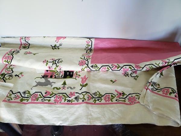Vintage Tablecloth-Pink