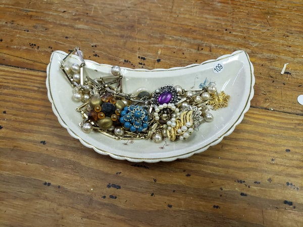 Bone Dish w/costume jewelry