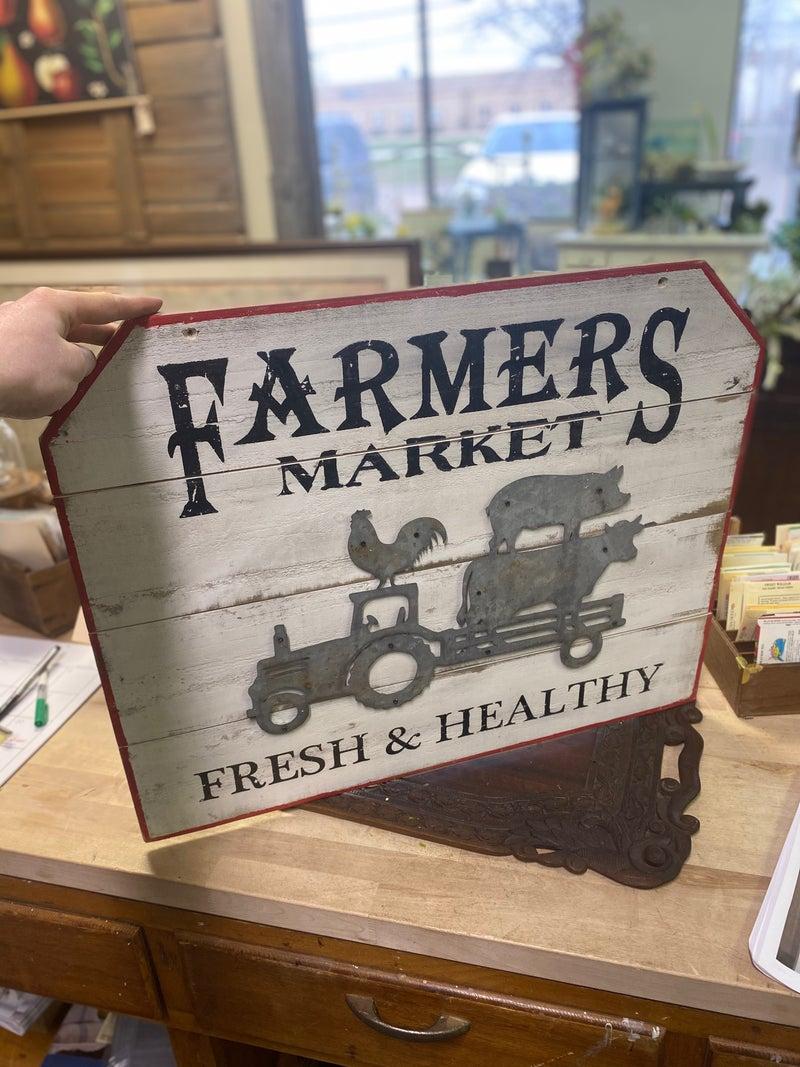 Vintage inspired farmers market sign