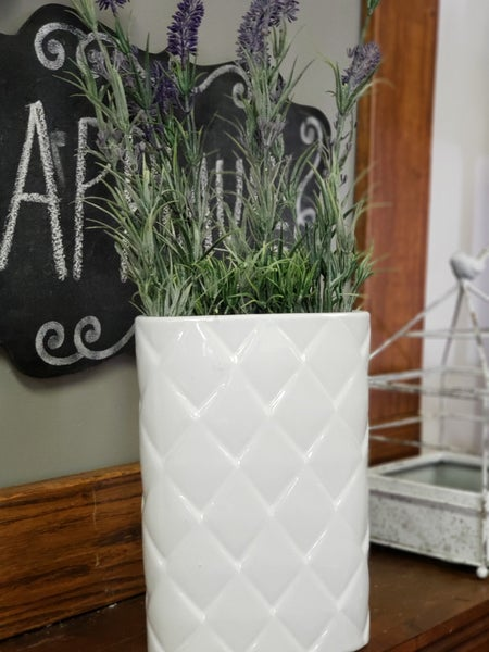 Faux Lavender in white container