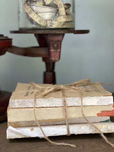 Distressed book stack