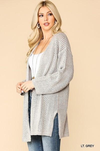 GiGio Light Grey Low Gauge Lightweight Sweater Cardigan