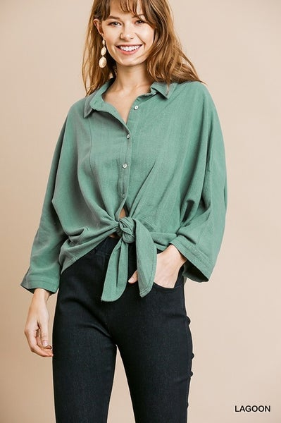 Umgee Lagoon Long Sleeve Button Front w/ Front Tie Top