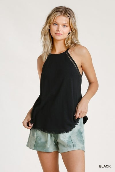 Umgee Black Cami with Crochet Hole Detail