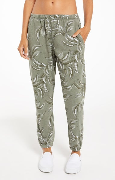 Z Supply Tira Palm Agave Green Jogger