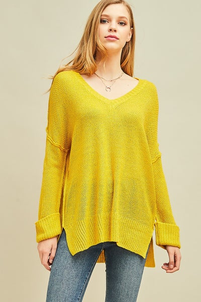 Entro Lemon Knitted V-neck Top