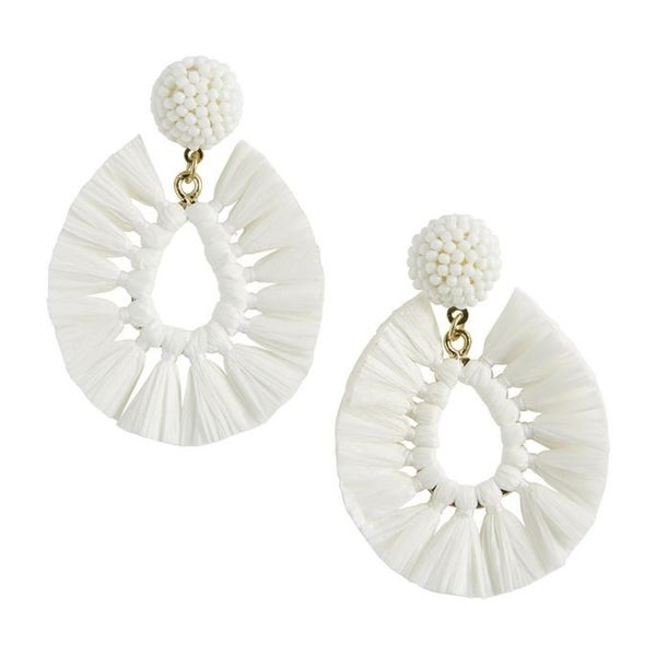 Mud Pie Raffia White Earrings