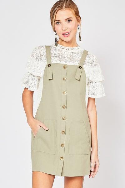Entro Button-up Pinafore Dress
