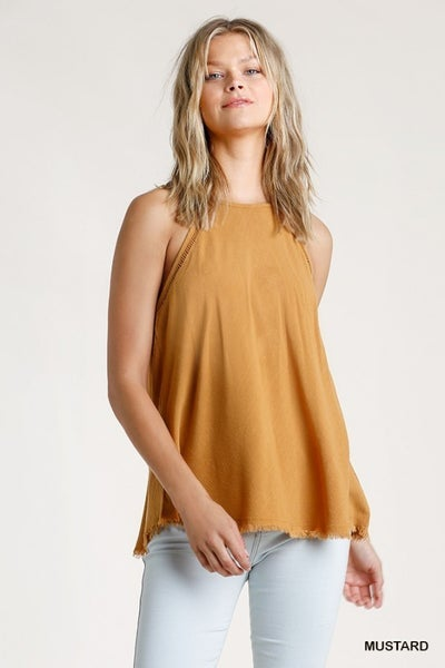 Umgee Mustard Cami with Crochet Hole Detail