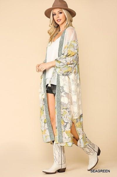 GiGio Off White Floral Print and Crochet Soft Lace Mixed Maxi Kimono
