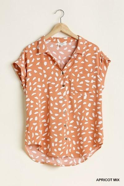 Umgee Apricot Dalmatian Button Front Top